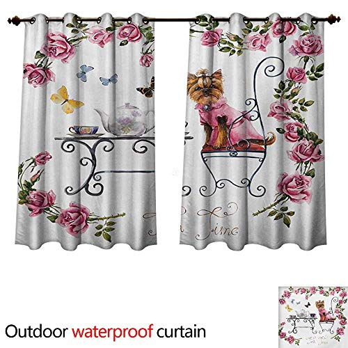WilliamsDecor Yorkie Outdoor Ultraviolet Protective Curtains Yorkshire Terrier in Pink Dress Having a Tea Party Tea Time Butterflies Roses W108 x L72(274cm x 183cm) (In The Time Of The Butterflies Analysis)