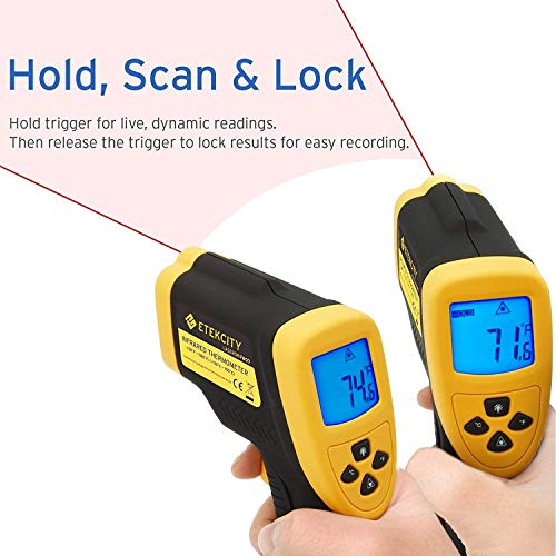 Etekcity Lasergrip 800 Digital Infrared Thermometer Laser Temperature Gun Non-contact -58℉ - 1382℉ (-50℃ to 750℃), Yellow/Black by Etekcity (Image #3)