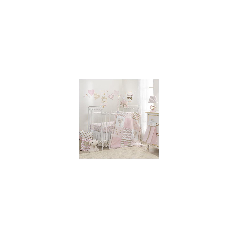 Lambs & Ivy Baby Love Pink/Gold Girl Heart 4 Piece Crib Bedding Set