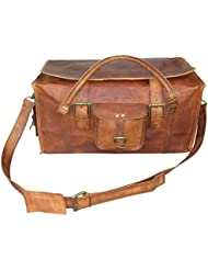 IHA 21 Retro Style Carry on Luggage Flap Distressed Leather Duffel Bag for Men and Women