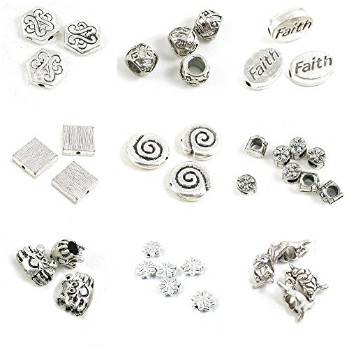 37 Pieces Antique Silver Tone Jewelry Making Charms Hare Rabbit Loose Beads Star Flower Crab Gift Box Conch Stripe Streak Block Faith Tire Hexagon