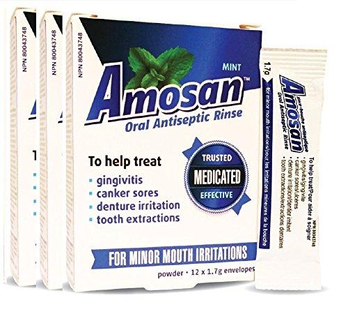 Amosan Oral Antiseptic Rinse -3 Pack- 68.635% Sodium Perborate Monohydrate, SizeSSupergp-56, Red