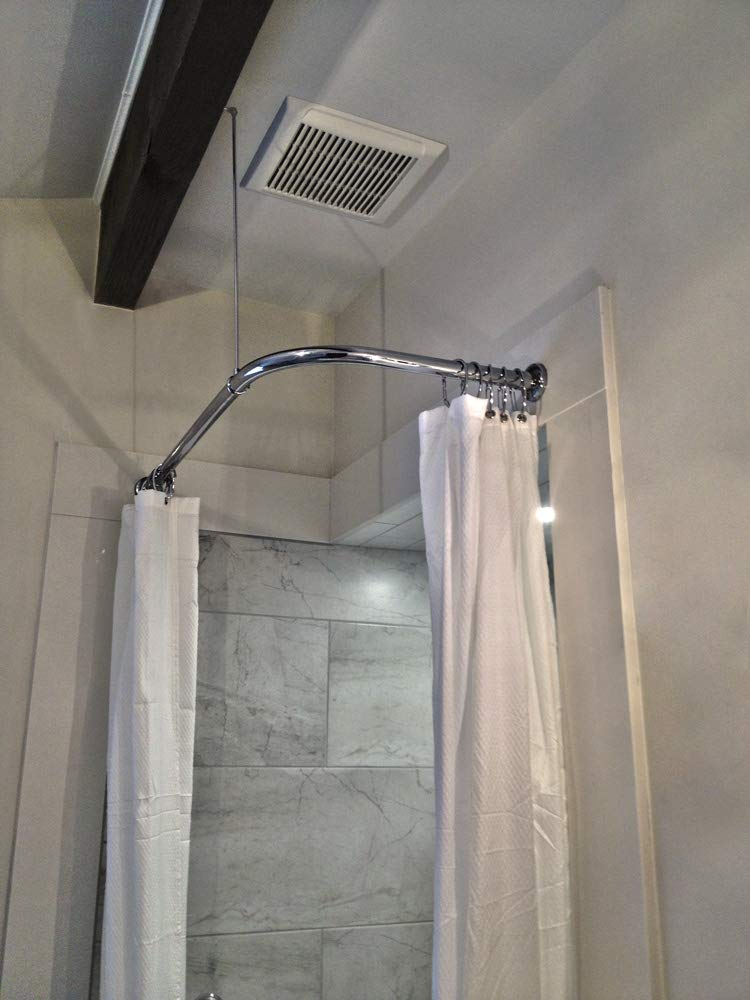 Heavy Duty Corner Shower Curtain Rod (Polished Chrome) (36'' x 36'')