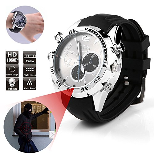 DV Montre Cachée Espion Full HD 1080P Espion Détecteur de Mouvement IR Vision Nocturne Étanche pour Vidéos, Photos et Audio (16G)