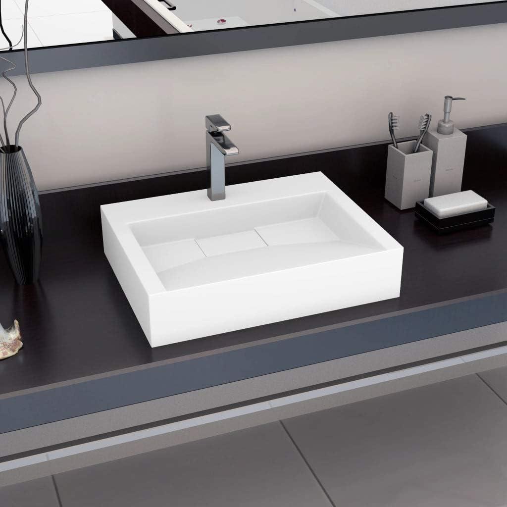 vidaXL Lavandino Design Elegante Ornamentale Innovativo Facile da Pulire di Tendenza Lavello Sanitari 120x46x11 cm Blocco in Marmo Minerale Bianco