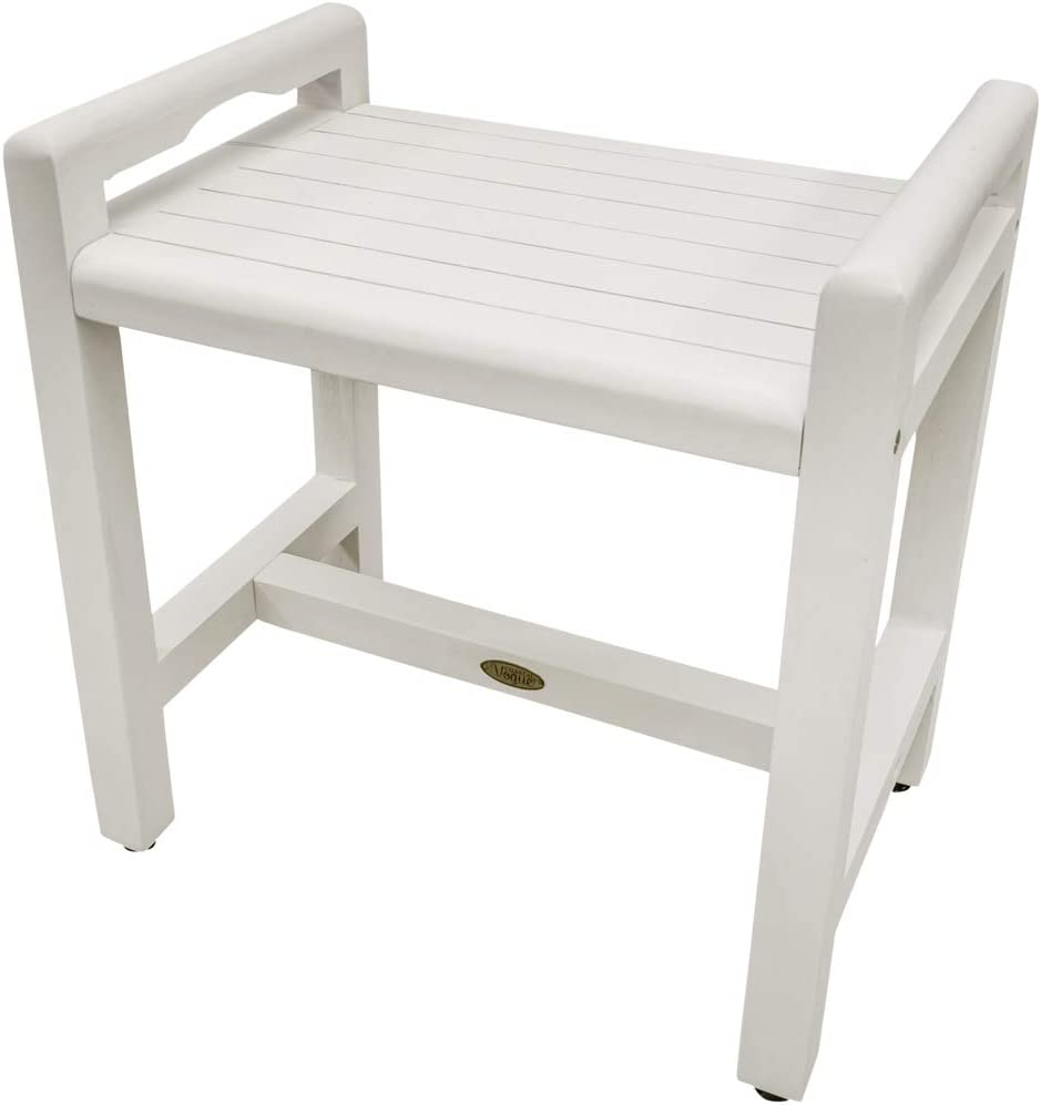 Amazon Com Coastal Vogue Eleganto Teak Shower Stool With Liftaid Arms 20 Inches Driftwood Health Personal Care