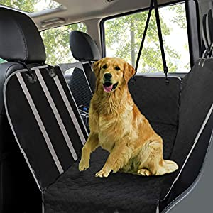 Dog Car Seat Covers,Waterproof Scratch Proof Pet Seat Covers Dog Seat Covers for Back Seat w/Mesh Window/Side Flaps,Convertible Dog Hammock,Durable Soft Seat Protector for Cars Trucks & SUVs,Black 107