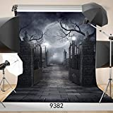 SJOLOON 5ft x 7ft Halloween Vinyl Photo Background Photography Backdrop Moon Night Backdrop Studio Prop 9382