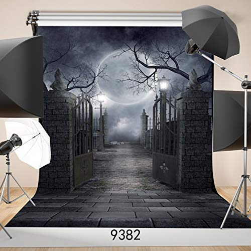 SJOLOON 5FT x 7FT Halloween Vinyl Photo Background Photography Backdrop Moon Night Backdrop Studio Prop -