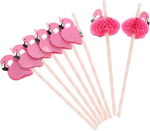 Anself - Pack de 50 Pajitas de Flamingos para Fiesta / Cumpleaños / Boda / Comunión, Papel: Amazon.es: Hogar