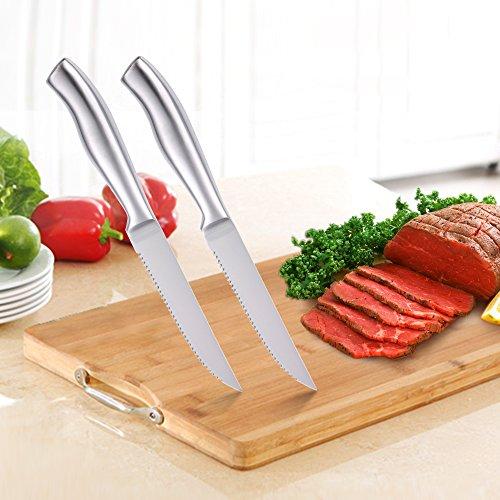 Steak Knives Set of 6 Serrated Stainless Steel, Dishwasher Safe by isheTao (Image #5)