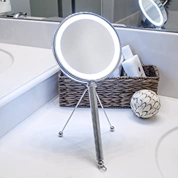 Perfect Pure Enrichment LED Lighted Double Sided Makeup Vanity Mirror With  Adjustable Stand