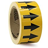 Accuform Signs RAW453BKYL Vinyl Directional Flow Arrow Tape, Black Arrow on Yellow, 2'' W x 108' L, Black on Yellow