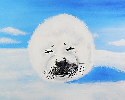 Harp Seal by Ed Capeau Art Print Poster Smiling Seal Happy Animals Made In