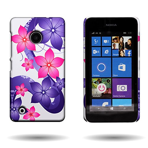 (Nokia Lumia 530 Case with Floral Design (Hibiscus Flower) CoverON 1pc Slim Hard Shell Back Phone Cover for Nokia Lumia 530)