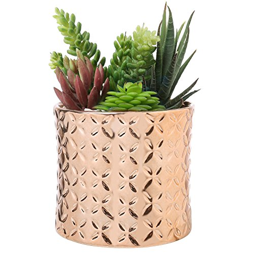 5-Inch Ceramic Canister Planter with Metallic Copper-Tone Finish and Diamond Debossed Texture