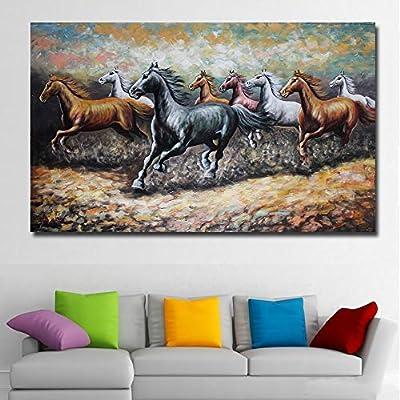 tzxdbh Pintura Animal Abstracta 8 Caballos Corriendo Cuadro Lienzo ...