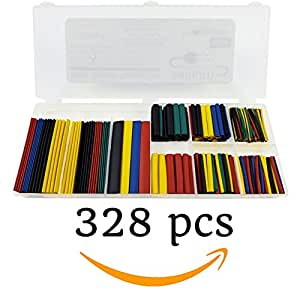 328 Piece Heat Shrink Tubing Set - Polyolefin 2:1 Shrink Ratio | Protects bare wiring, crimp connections, splices, wire repair, car audio, boat, ATV | Outdoor and Marine Safe