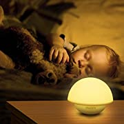 INTEY Kids Lamp Baby Night Light with Tap Sensor, Color Changing and Dimmable Warm White Mushroom Design
