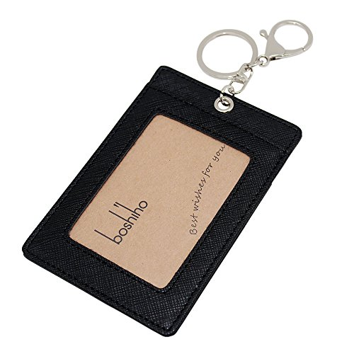Boshiho Vertical Style Leather ID Card Badge Holder with Keychain Key - Leather Key Id Ring