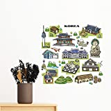 Famous Tourist Attractions in South Korea Removable Wall Sticker Art Decals Mural DIY Wallpaper for Room Decal