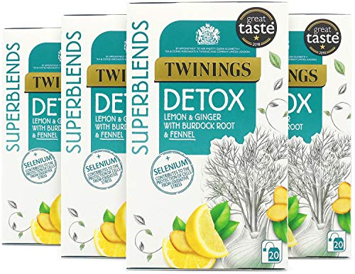 Twinings Superblends Detox with Lemon, Ginger, Burdock Root & Fennel, 80 Teabags (Multipack of 4 x 20 Bags)