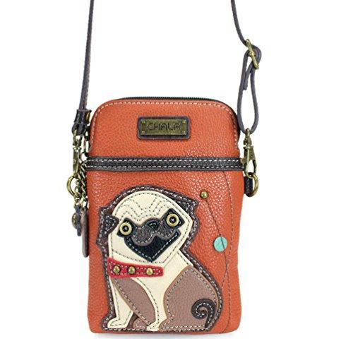 Chala Crossbody Cell Phone Purse - Women PU Leather Multicolor Handbag with Adjustable Strap (Orange Pug)