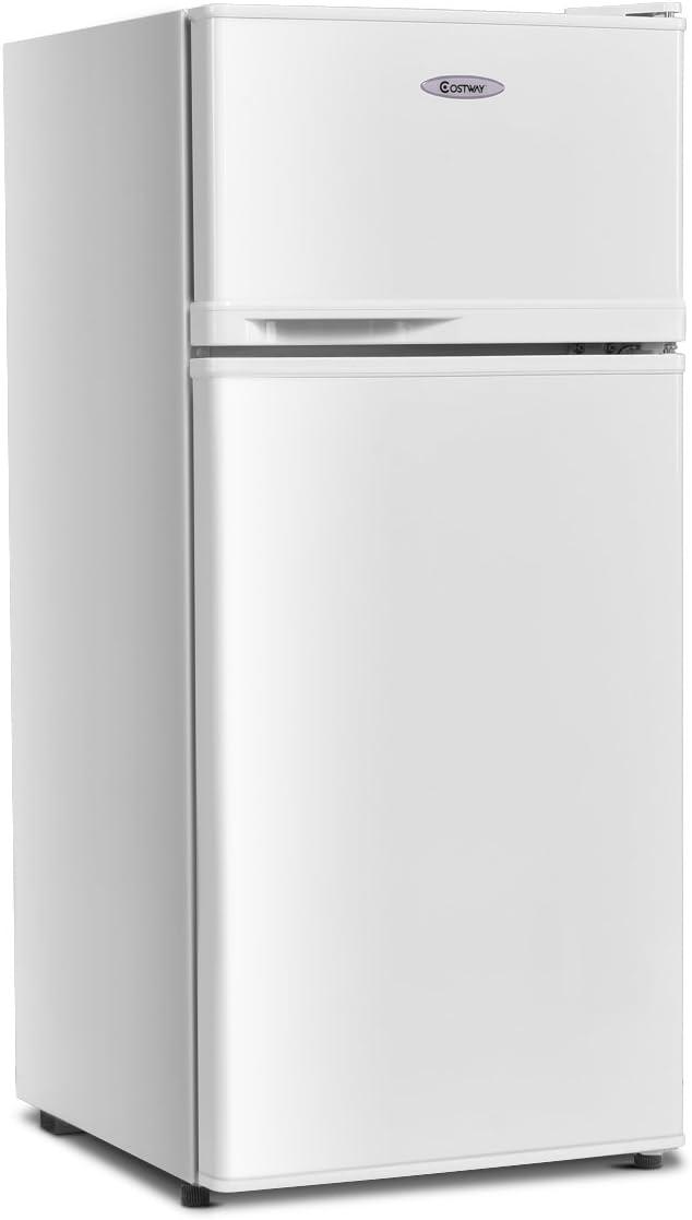 COSTWAY Compact Refrigerator, 2-Door 3.4 cu. ft. Fridge, Freezer Cooler Unit for Dorm, Office, Apartment with Adjustable Removable Glass Shelves(White)