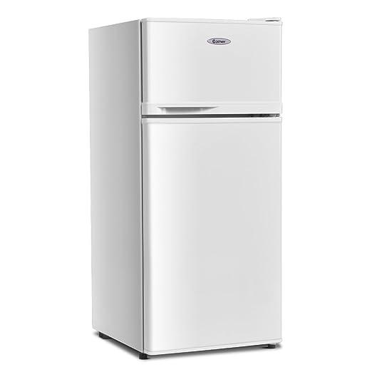 COSTWAY Mini Refrigerator, 2-Door 3.4 cu. ft. Small Compact Refrigerator  Fridge Freezer Cooler Unit for Dorm, Office, Apartment with Adjustable ...