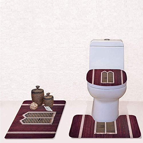 Comfort Flannel 3 Pcs Bath Rug Set,Contour Mat Toilet Seat Cover,Window Frame with Shutters on a Wooden Wall Vintage Style Artwork Print with Burgundy and Pink,Decorate Bathroom,Entrance Door,Kitchen