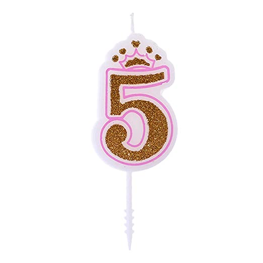Chiic Vela – Corona de purpurina para tartas de cumpleaños con números 0 a 9, ideal como accesorio de cumpleaños PK 5