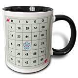 3dRose mug_30661_4 Bingo N Roses - Two Tone Black Mug, 11oz, Multicolored