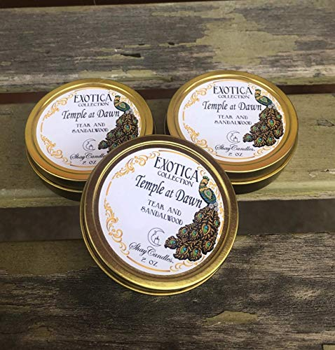 Exotica Collection (Teak, Sandalwood Scented Candles || Set of Three 2oz Travel Tins ||Coconut Wax ||