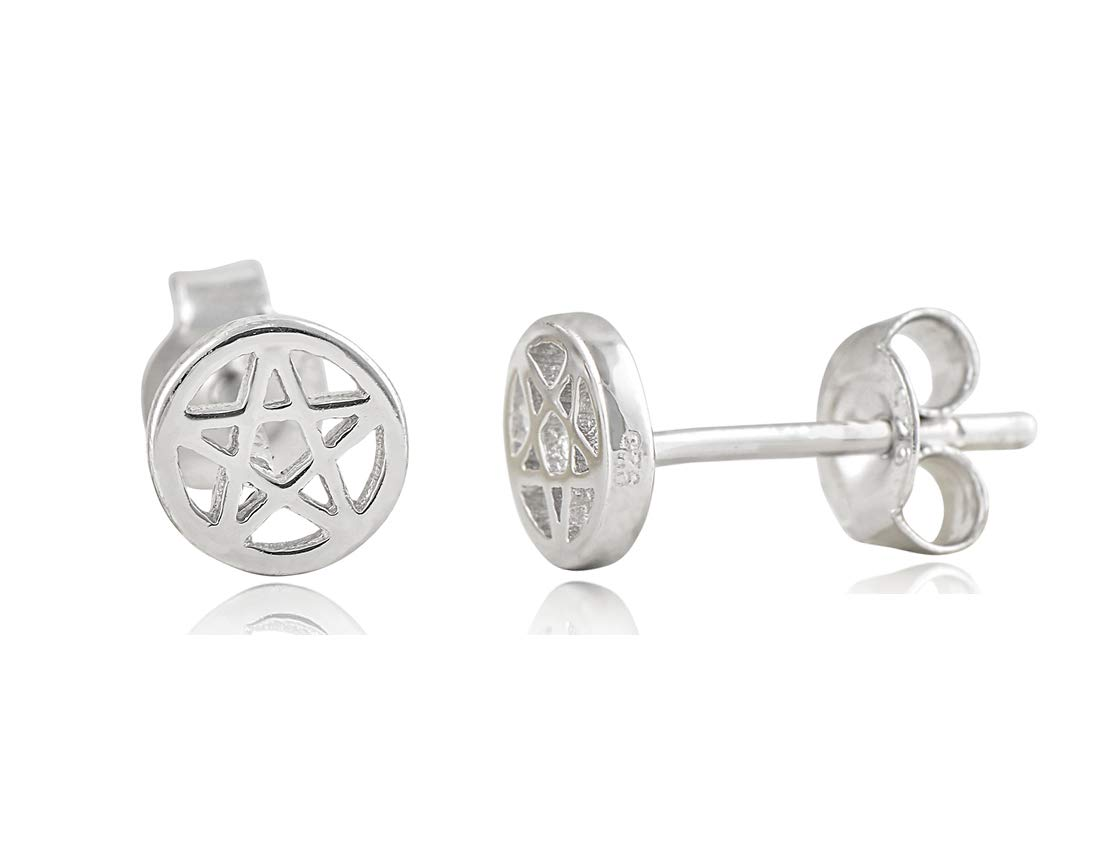 Sterling Silver Small Pentacle Stud Earrings - 5mm