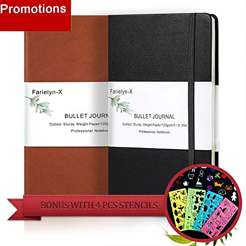 Bullet Journal/Notebook(2 Pack,Black& Brown,A5),Hardcover Dot Grid Notebook,Premium Thick Paper Faux Leather Writing Notebook with Fine Inner Pocket, with Bonus 4 Pcs Stencil (2 pack) by Farielyn-X