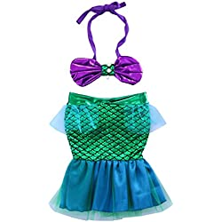 Toddler Baby Girls Halter Bow Crop Top+Green Mesh Mermaid Skirt Swimsuit Kids Clothes for Photo Shoot