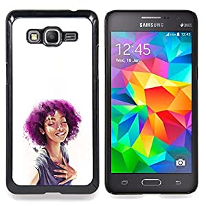 """Qstar Arte & diseño plástico duro Fundas Cover Cubre Hard Case Cover para Samsung Galaxy Grand Prime G530H / DS (Púrpura Afro Chica"""")"""