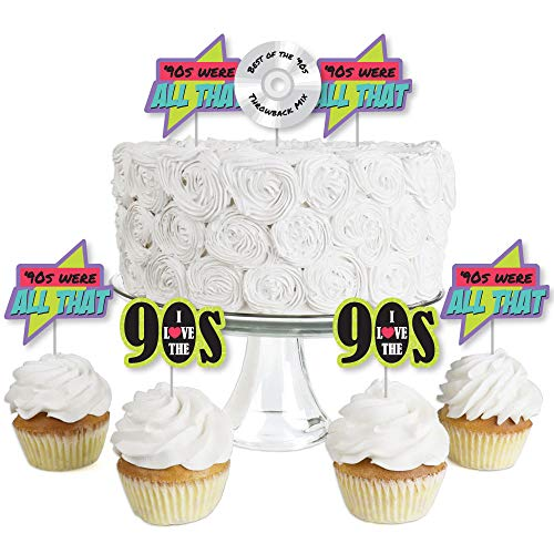 90's Throwback - Dessert Cupcake Toppers - 1990s Party Clear Treat Picks - Set of 24 ()
