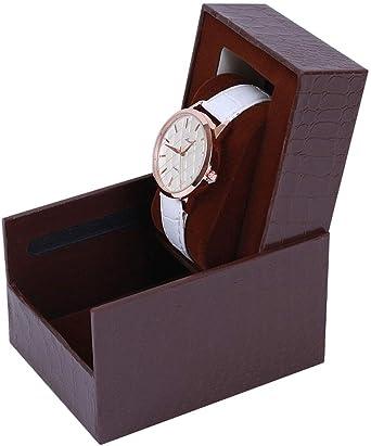 Caja De Reloj,Caja Bobinadora Soltero Caja De Regalo Portátil Viajes Llevar Pulsera Organizador De Joyas Caja De Almacenamiento Mirar Mostrar Estuche para Relojes-6: Amazon.es: Relojes