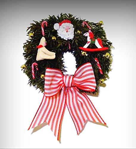 IGMA Judith Orr Bear Santa Rocking Horse Christmas Wreath Dollhouse Miniatures - My Mini Garden Dollhouse Accessories for Outdoor or House Decor