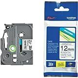 Beschriftungsband für Brother P-Touch 1230 PC, Schwarz auf Weiss, 12 mm, Schriftband-Kassette für PTouch 1230PC, 12mm breit, 8mtr.