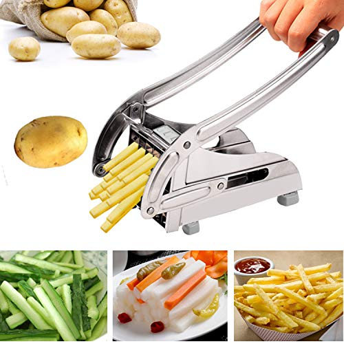French Fry Cutter Stainless Steel Potato Chipper With Stable Suction Base and Two Size Interchangeable Blades (US Stock) (Potato Cutter) by Tomasar