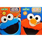 Sesame Street Paint with Water Book Set Cookie's Year and Elmo Imagines with Non-Toxic Tear Out Pages