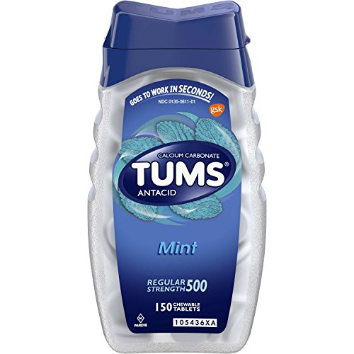 TUMS Regular Strength Mint Antacid Chewable Tablets for Heartburn Relief, 150 count (Pack of 4)