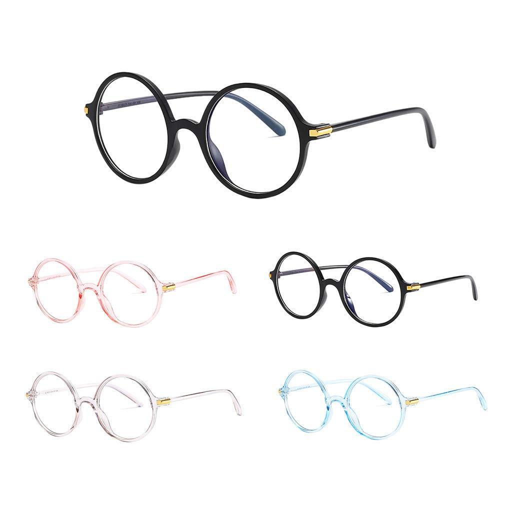 Tuscom Blue Light Blocking Glasses Anti Blue Ray Glasses Oversized Round Circle Sunglasses Nerd Eyeglasses Frame (Blue)