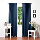 """Best Home Fashion Thermal Insulated Blackout Curtains - Back Tab/ Rod Pocket - Navy - 52""""W x 96""""L - (1 Panel)"""