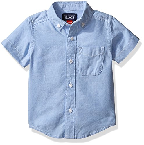 The Children's Place Baby Boys' Short Sleeve Uniform Oxford Shirt, LTBLUOXFRD 4764, 18-24 Months