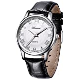 Denvosi Men's Casual Roman Numeral Quartz Analog Wrist Watch Waterproof Classical Design Watch with 40mm Case and Stainless Steel Case with White Dial