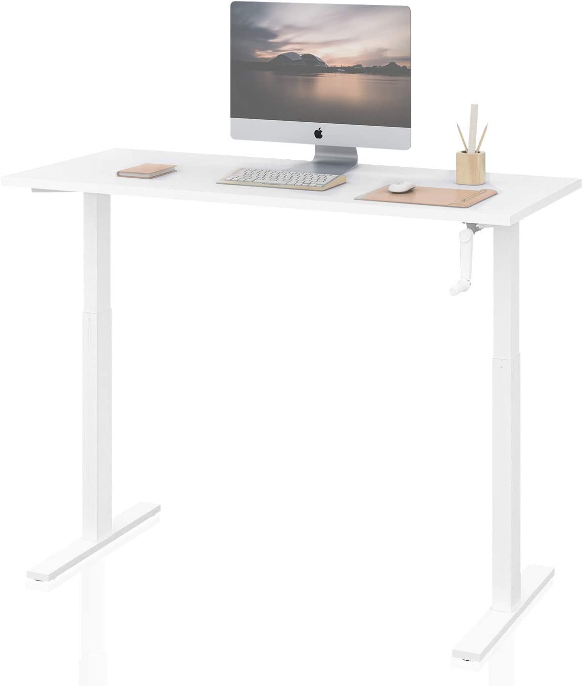 """DEVAISE Standing Desk - 55"""" Adjustable Sit to Stand Up Desk with Crank Handle, White"""