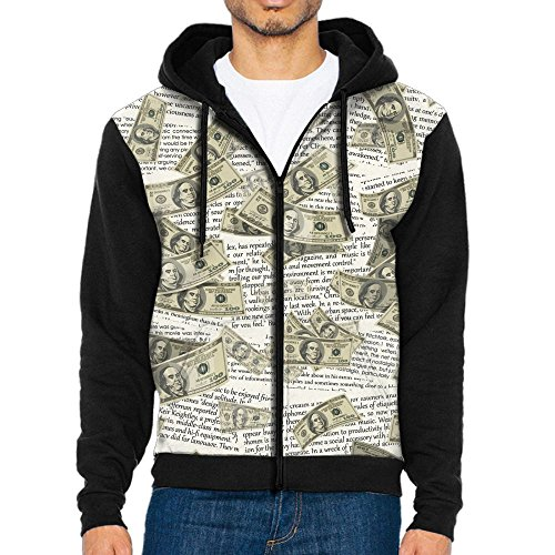 Million Dollars Article Cool Loose Hooded Sweatshirts Running Jackets Zippered Closure Hoodies For Men Small